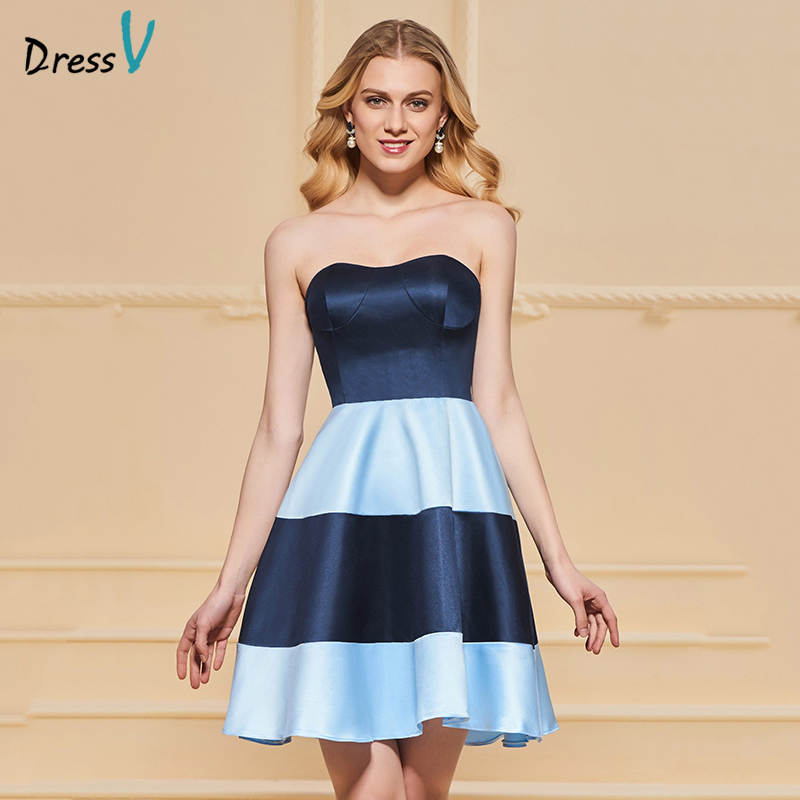 Dressv elegant homecoming dress a line strapless sleeveless zipper up knee length homecoming&graduation dresses
