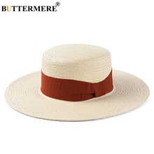 BUTTERMERE Ladies Hats For Summer Red Panama Sun Hat Women Ribbon Straw Bowknot Holiday Beach 2019 Female Wide Brim Cap
