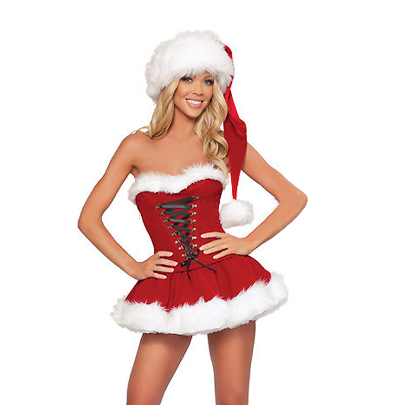 <font><b>Sexy</b></font> <font><b>Christmas</b></font> <font><b>Costume</b></font> For Women Thick Velvet Santa Cosplay Suit Erotic Baby doll Uniform that <font><b>Christmas</b></font> Party Dress <font><b>Outfit</b></font> image