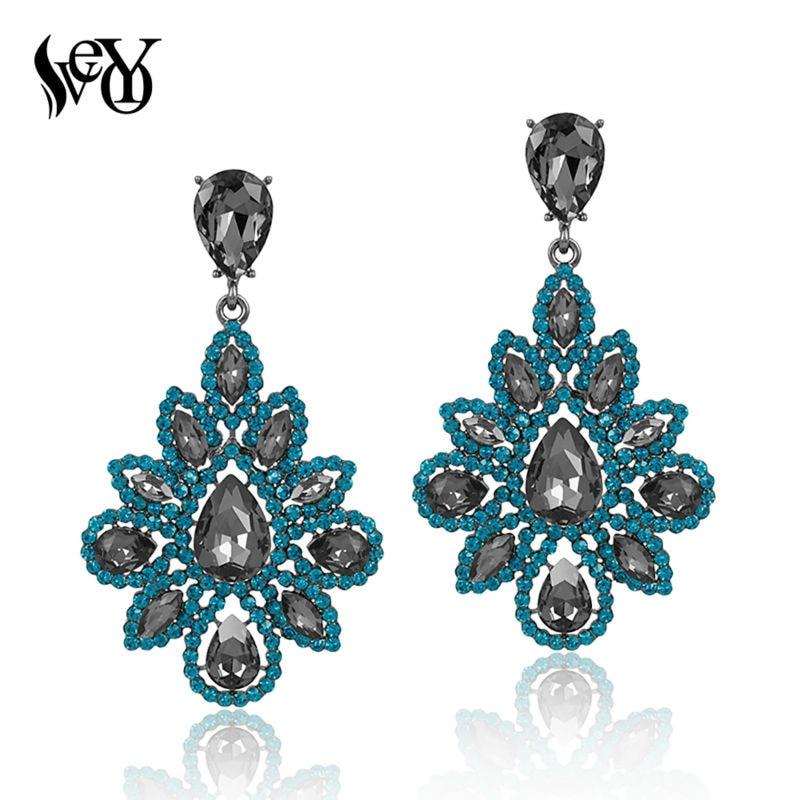 VEYO Pendientes de cristal de diamantes de imitación redondos para mujer Pendientes de gota de lujo Vintage brincos Pendientes de alta calidad