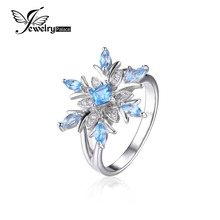 JewelryPalace 0.8ct Snowflake Genuine Blue Topaz Ring Solid 925 Sterling Silver Fine Jewelry Fashion Christmas Gift For Women