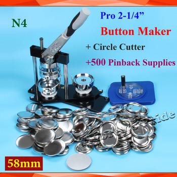 Darmowa wysyłka Pro N4 2-1 4 #8222 58mm maszyna do buttonów z guzikiem + poprawiono 8 rozmiar koło Cutter + 500 zestawy metalowe Pinback przycisk dostaw tanie i dobre opinie