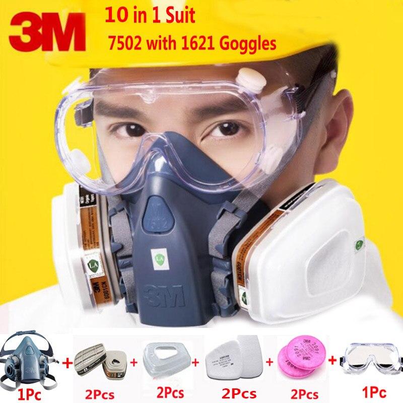 10 En 1 3 M 7502 Demi-Masque Respiratoire Masque À Gaz Avec Sécurité sûreté 1621 Lunettes Bussiness L'industrie Étanche À La Poussière masque