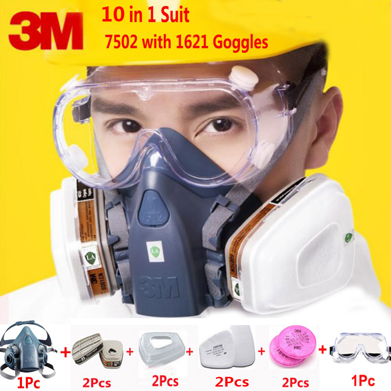 10 In 1 3M 7502 Half Face Respirator Gas Mask With Safety Security 1621 Goggles Bussiness Industry Dust Proof Mask 11 in 1 suit 3m 6200 half face mask with 2091 industry paint spray work respirator mask anti dust respirator fliters