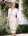Элегантный Vestido де Madrinha Scoop Половина Рукава мать Невесты Кружевные Платья Длиной до колена Крестная Платье