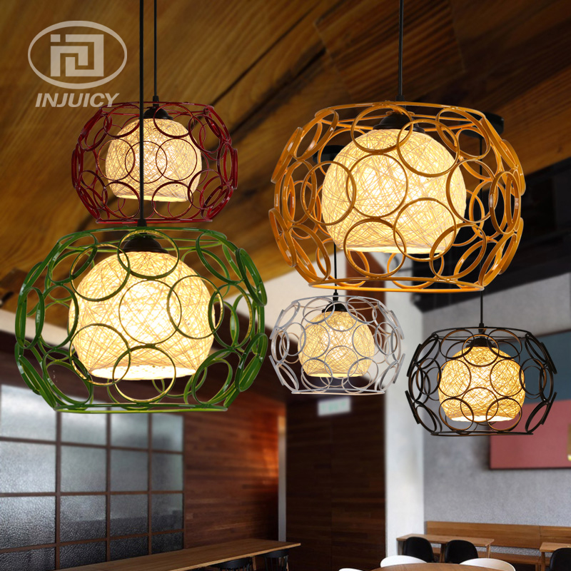 Loft Edison Vintage Industrial Iron Cage LED Pendant Lamp Woven Hemp Rope Corridor Dining Room Bedroom Balcony Pendant Lights edison inustrial loft vintage amber glass basin pendant lights lamp for cafe bar hall bedroom club dining room droplight decor