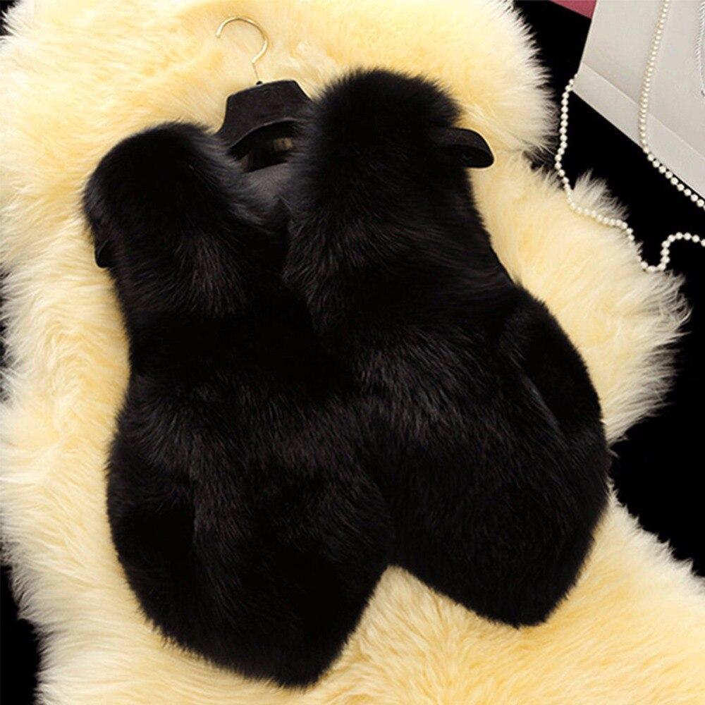 Chaleco Sin gris De 2018 Imitación Las Zorro Chalecos Piel Blanco Chaquetas Grueso Invierno Abrigo Plus Mullido Mangas Tamaño negro Cálido Mujeres Falso Mujer WFqpwBpn7Y
