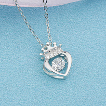 Real sterling silver 925 princess crown necklace in jewelry pendant necklace with CZ chain fashion silver jewelry for women gift hot sale sterling silver 925 palm devil s eyes necklace in jewelry pendant necklace dangle with cz chain necklace for women