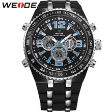 WEIDE Men PU Strap Watches Water Resistant Fashion Casual Watch Quartz Movement Wristwatches Male Relogio masculino / WH1107