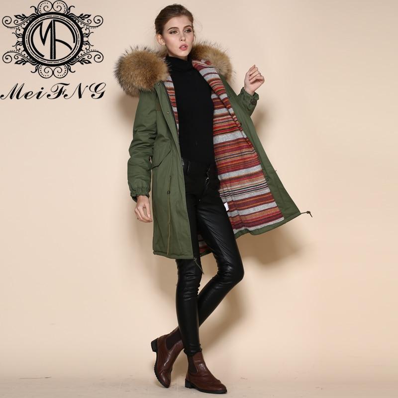 Wholesale High Quality Warm Cashmere Lining Long Jacket Fur Collar Ladies Parka Fur Hood