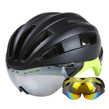 Goggles Bicycle Helmet EPS+PC Ultralight Mountain Road MTB Cycling Helmet With Lens 55-61 CM Goggles Bike Helmet