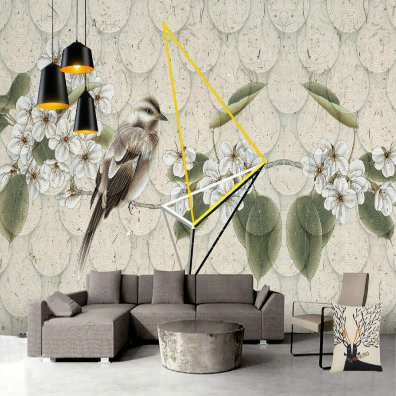 Bird flower vintage background wallpaper 3d for living room home improvement wallpaper Painting mural silk paper 3d damask wallpaper for walls 3d wall paper mural wallpapers silk for living room bedroom home improvement decorative