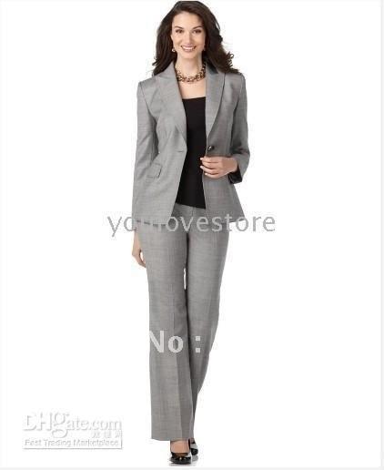 Fashion Women S Clothing Women Business Suit Light Grey Women Suits