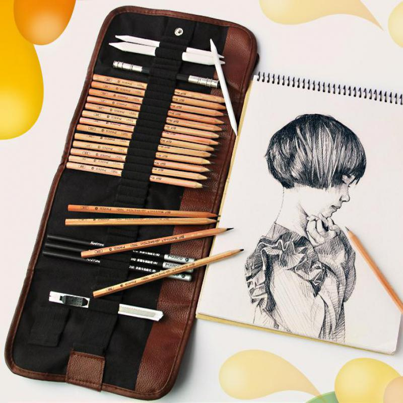 29pcs Sketch Pencil Set Professional Sketching Drawing Kit Set Wood Pencil Pencil Bags Painter School Students Art Supplies