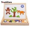 Multifuncional Crianças Animal Puzzle de madeira Desenho Magnético Placa de Escrita Negro Aprendizagem Educação Brinquedos Para As Crianças