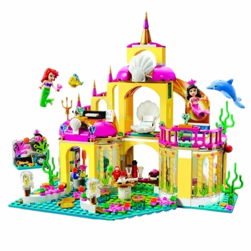 402pcs Bricks Princess Undersea Palace Girl Building Blocks Toys For Children Compatible with Lego Friends Free Shipping 10162 friends city park cafe building blocks bricks toys girl game toys for children house gift compatible with lego gift