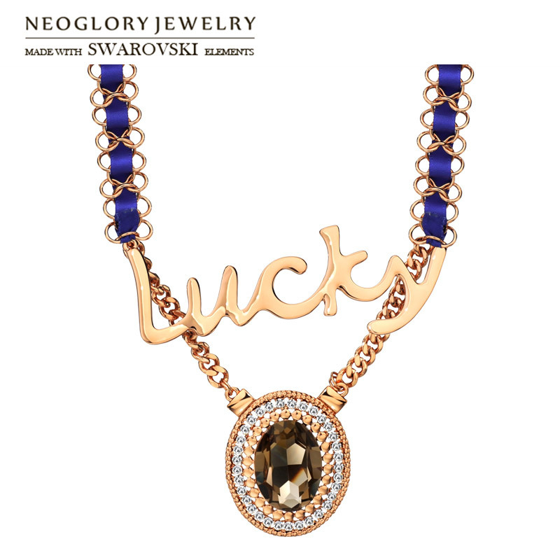 neoglory austria rhinestone crystal long charm necklace lucky letter design rose gold plated elegant