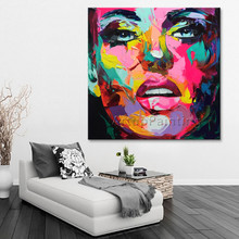 Palette knife painting portrait Face Oil Impasto figure on canvas Hand painted Francoise Nielly 16-11