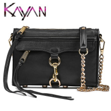 Genuine Leather Tassel Women Bag Fashion Cow Leather Shoulder Bag Female Crossbody Bag With Golden Chain genuine leather shoulder bag for women with half texture hardware chain half leather belt shoulder straps