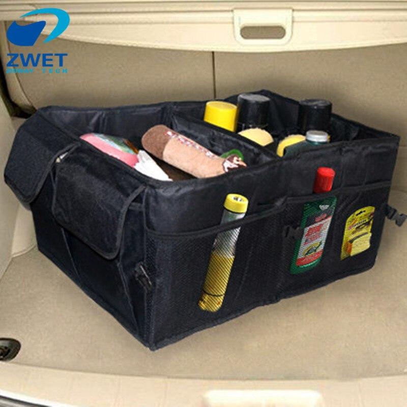 ZWET Material Food Sacos de Armazenamento tronco organizador Organizador de Inicialização Do Carro todos os novos Acessórios Interiores Estiva Tidying Dobrável Dobrável