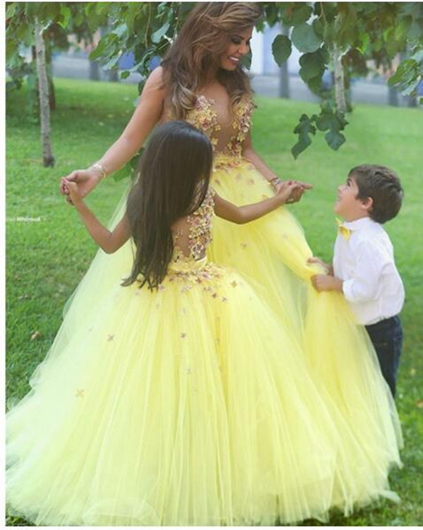 High Quality Customized Flower Girl Dress 3D Applique Yellow Puffy Tulle Kids First Communion Dress Girls Birthday Party Gown high quality home party decorative fake yellow reed artificial flower