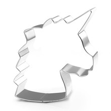 цены VOGVIGO 1PC Unicorn Head Cookie Cutter Stainless Steel Fondant Cutter Baking Cookie Mold Biscuit Mould Cake Decorating Tools