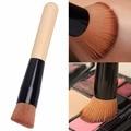Moda Bambú cepillo de la Fundación Rubor Ángulo Flat Top Base Líquida Cepillo Cosmético Maquillaje Individual Brush 140mm Longitud