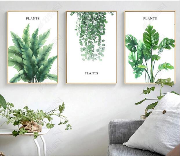 INS restaurante planta verde moderna minimalista pequeña pintura decorativa nórdica fresca estilo Popular-in Pintura y caligrafía from Hogar y Mascotas    1