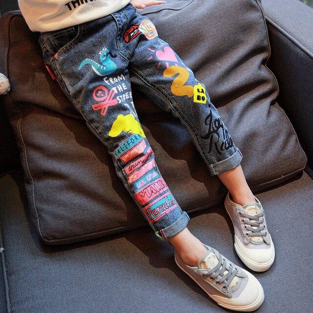 Kids Clothing Spring Autumn girls/boys jeans personality joker Cartoon Graffiti Print small straight pants casual Children jeans