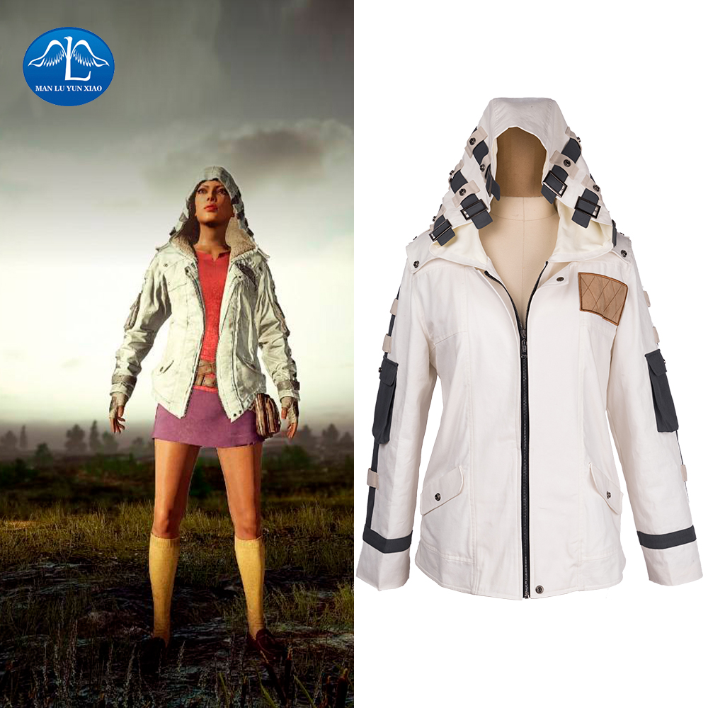 Game PUBG Playerunknown's Battlegrounds Cosplay Costume White Adult Hoody Jacket With Hat Costumes Halloween Party For Men