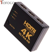TOFOCO 4K*2K 3in 1out HDMI Switch Hub Splitter TV Switcher Adapter Ultra HD for HDTV PC