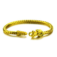 Fashion domineering man gold plated bracelet.Vacuum plating real 24 k golden dragon bracelet.Dont change the color of jewelry