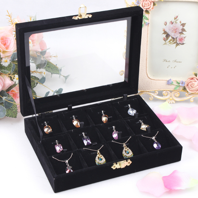 Fashion Black 12 Slots Necklace Box Pendant Holder Jewelry Display