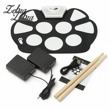 6Pcs/set 39x 27.5×2.5cm Silica Gel Foldable Portable Roller Up USB Electronic Drum Kit+2 Drum Sticks+2 Foot pedals