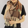 Leopard Floral Printed 100%Wool High Quality Women Winter Scarves 70x200cm Brand Designer Woman Scarf Pareol Shawls and Wraps