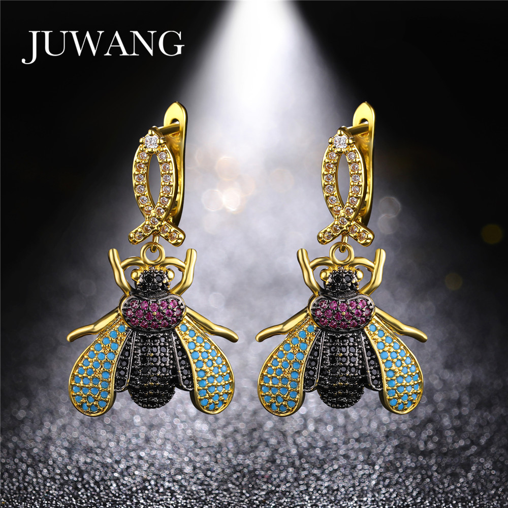 JUWANG New Cute Tiny Insects Beetle Earrings for Woman Cubic Zirconia Dangle Earring Wholesale Jewelry Gift