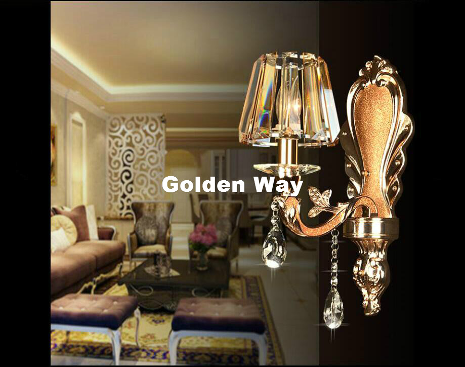 Free Shipping European Alloy 1 Arm and 2 Arms Crystal Bedroom Wall Lamp Crystal Sconce K9 Crystal Wall Sconce AC 100% Guaranteed 2 color guaranteed 100