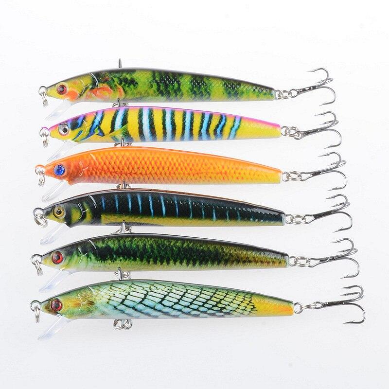 6pcs Paint Wobbler Minnow Fishing Lures Hard Bait CrankBait 11cm//13.4g Tackle