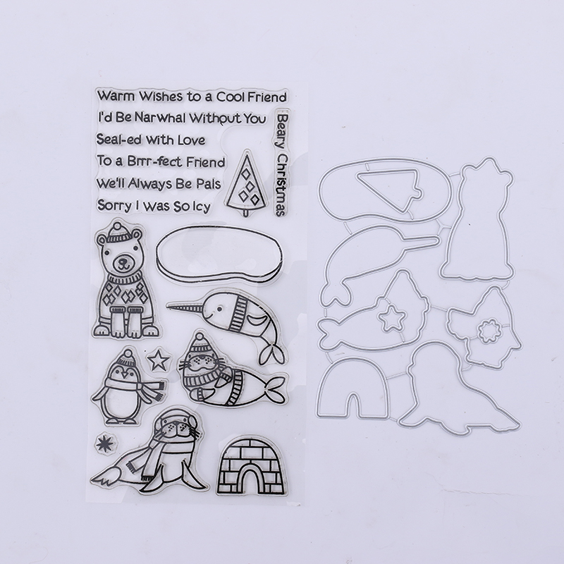 D69 Cool Narwhal Christmas Metal Cutting Dies Transparent Clear Stamp for Scrapbooking DIY Embossing Folder Template Decoration ...