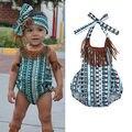 Bebê recém-nascido Menina Tassel Estampa floral Macacão Sunsuit Outfits Bodysuits da criança das crianças das crianças
