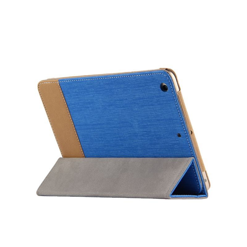 High Quality Ultra Slim 3 Folding Canvas Grain Folio Stand PU Leather Cover Protective Case For