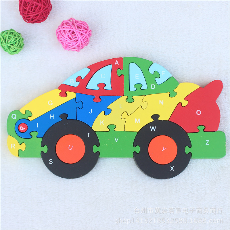 JP011 Double Sides Children Wooden Toys Alphabet Number Building Jigsaw Puzzle Small Car Funny Digital Puzlzle Game Educational