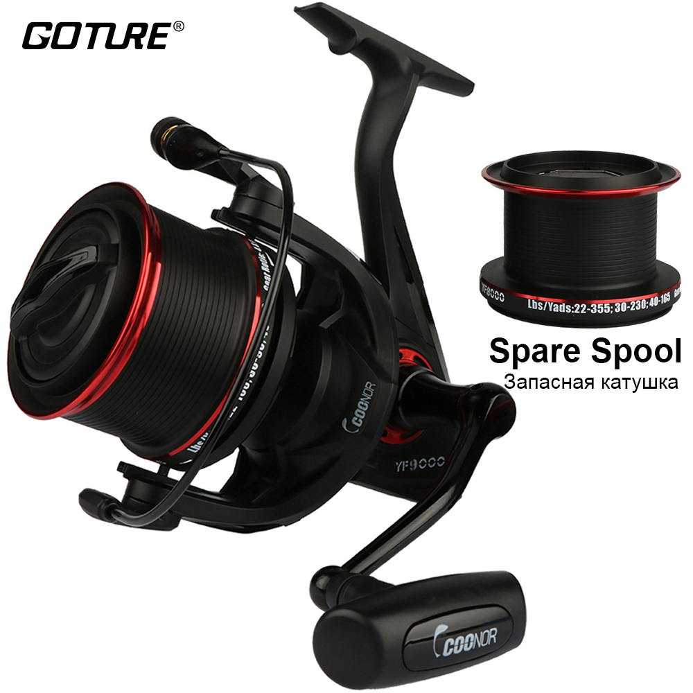 Goture Long Shot Spinning Reel Surf Casting Fishing Reel YF9000 With A Spare 8000 Metal Spool Max Drag 18KG goture brand gtm3000 spinning fishing reel 7 1balls 5 0 1 reel fishing carp reel max drag 12 5kg dual brake fishing wheel