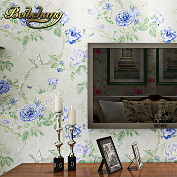 beibehang wall paper. papel de parede 3d Pune wallpaper American pastoral style flower green warm pure paper wallpaper bedroom
