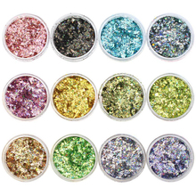 Holographic Glitter Flakes 12 Colors Ultra-thin Flakies Powder Irregular Nail Sequins with Boxs Holograph