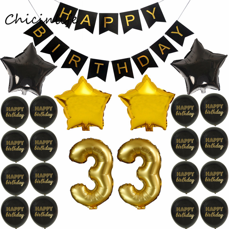 Chicinlife 1set Happy Birthday Banner Balloon Adlut 33 Birthday Party Decoration 17 22 24 25 Years old Birthday Party Supplies