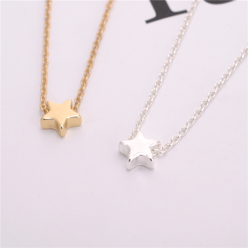 tiny temperament accessories elegant necklaces star pendant models on necklace horizontal from jewelry pointed delicate sideways female item in