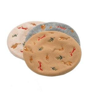 Image 5 - קוריאני סתיו וחורף חדש מורי ארנב סנאי עלים רקום צמר צמר כומתה אמן כובע צמר כובע