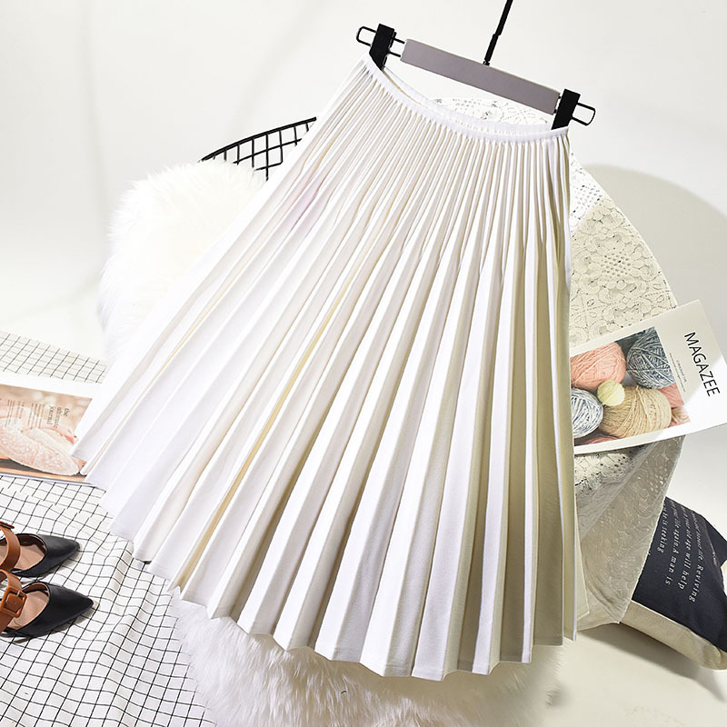 2019 Women Elegant Pleated Skirt High Waist Women Spring White Long Skirt Female Ladies High Quality Women Midi Skirt Black Saia