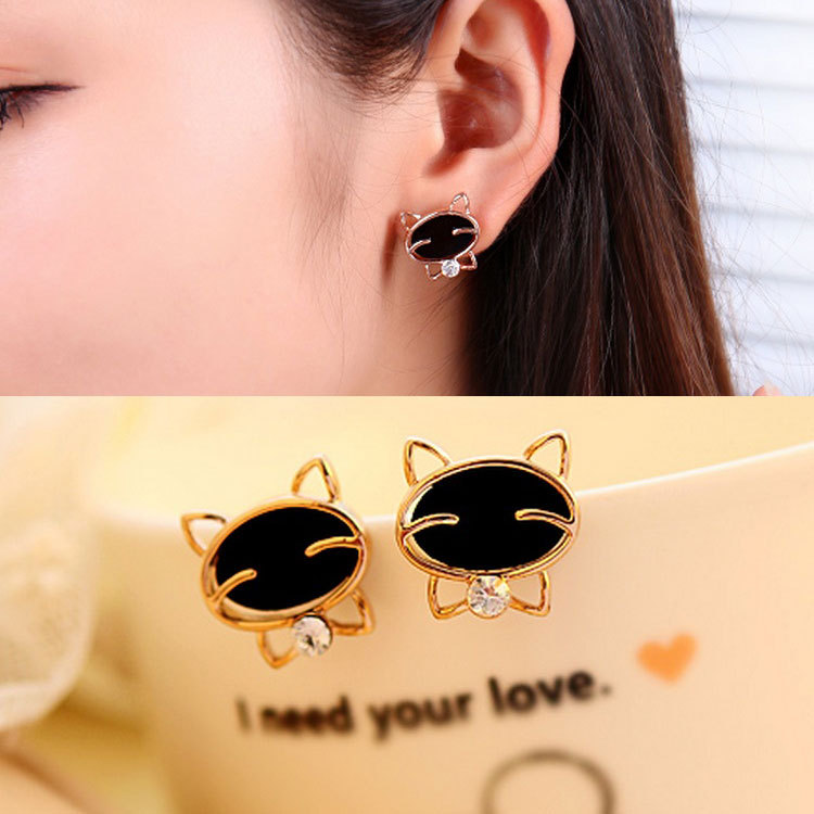 Fashion New2017 1pair Vintage Drop Shipping Black Smile Cat High-grade Fine Stud Bohemian Earrings For Women Brincos De Festa